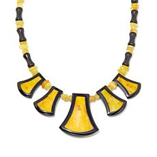 "Jay King Amber and Obsidian Reversible 18"" Necklace"