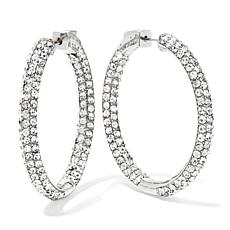 "Joan Boyce Crystal In/Out Skinny 1-3/8"" Hoop Earrings"