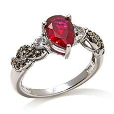 Marcasite, Created Ruby and White Topaz Sterling Ring