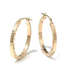 Michael Anthony Jewelry® 10K Etched Cross Hoop Earrings