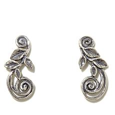 Noa Zuman Sterling Silver Leaf Motif Crawler Earrings