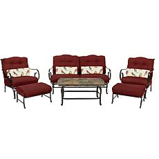 Oceana 6-piece Outdoor Patio Set w/Stone-Top Table -Red