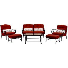 Oceana 6pc Outdoor Patio Set w/Tile Coffee Table - Red