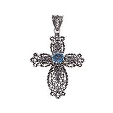 Ottoman Silver Jewelry 2.3ct Blue Topaz Cross Pendant