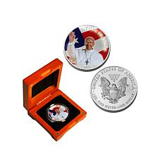 Pope Francis Colorized 2015 Silver Eagle Dollar Coin