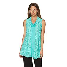 Rhonda Shear Sleeveless Top with Lace Overlay Vest