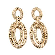 Sevilla Gold® 14K Ornate Diamond-Cut Oval Link Earrings