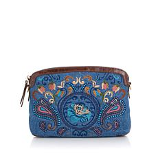 Sharif Embroidered Crossbody with Leather Trim
