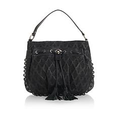 Sharif Leather Embossed Embroidered Hobo Bag