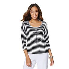 Slinky® Brand Anchor Embellished 3/4-Sleeve Tee