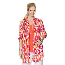 Slinky® Brand Printed Duster with Roll Tab Sleeves