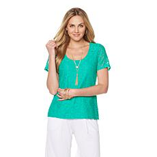 Slinky® Brand Scoop-Neck Lace Tee