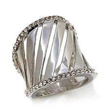 Stately Steel Bold Cutout Crystal Ring