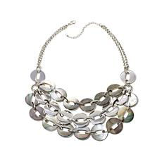 Stately Steel Multirow Black Mother-of-Pearl Necklace