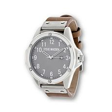 Steve Madden Round Gray Dial Brown Leather Strap Watch