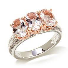 Victoria Wieck 2.03ctw Morganite and  Zircon 2-Tone Rin