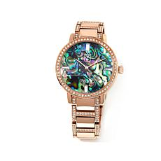 Victoria Wieck Abalone and Pavé Crystal Bracelet Watch