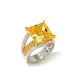Victoria Wieck Absolute™ 13.36ct Canary and Clear Ring