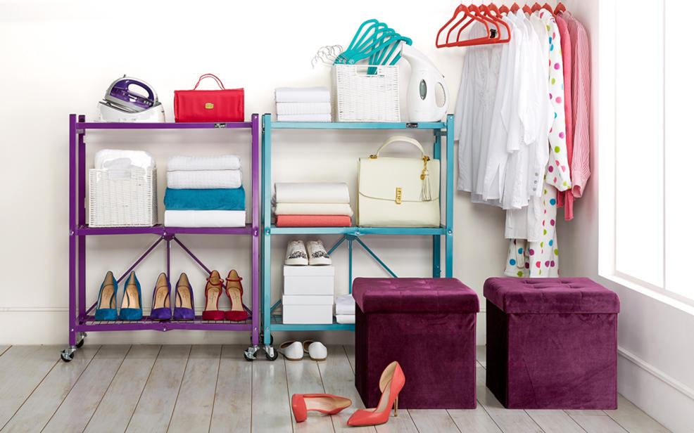 Storage solutions. Collapsible shelves, hangars, ottoman storage.
