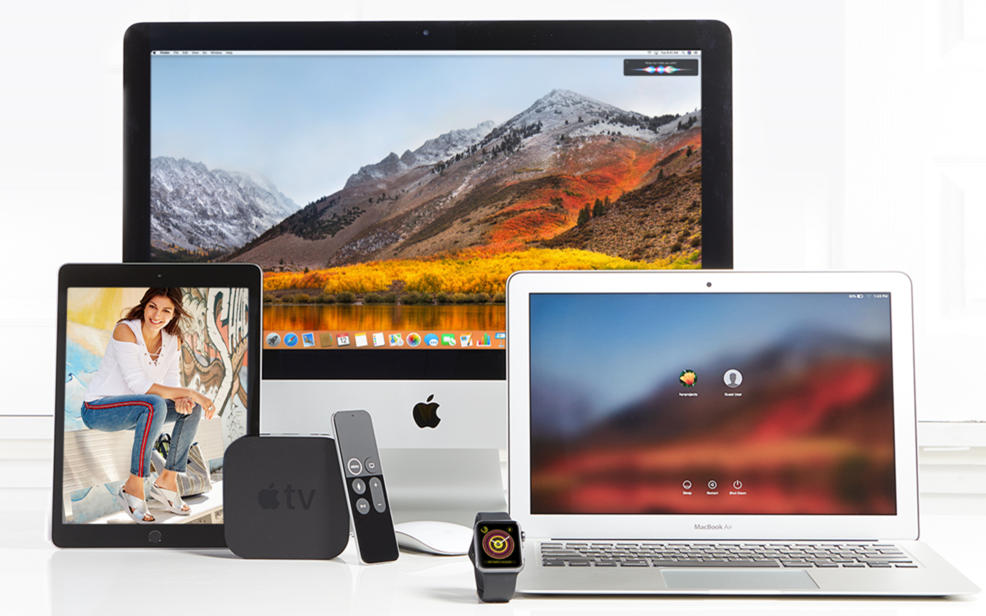 Electronics: Apple desktop, laptop, Apple TV, iWatch, and iPad