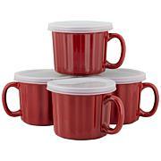 10 Strawberry Street 16 oz. Soup Mug with Lid Set of 4 - Turquoise