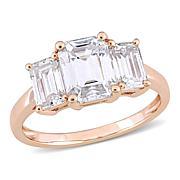 10K Gold 2.50ctw Moissanite Emerald-Cut Three-Stone Engagement Ring