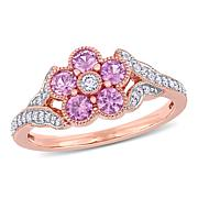 10K Rose Gold Diamond and Pink Sapphire Flower Engagement Ring