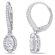 10K White Gold 1ctw Moissanite and 0.25ctw Diamond Frame Earrings