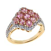 14K Gold 1.91ctw Zircon and Padparadscha Sapphire Ring