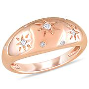 14K Rose Gold Diamond-Accented Matte Engraved Stack Ring