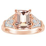 14K Rose Gold-Plated Emerald-Cut Morganite and Diamond Ring