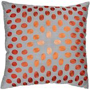 "18"" x 18"" Thumbprint Pillow - Gray/Orange"