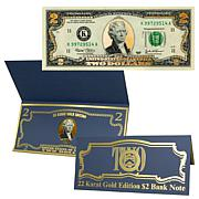 $2 Bill with 22K Gold Foil Highlights