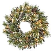 """24"""" Premium Decorated Wreath - 50 Clear Lights"""