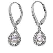 Absolute™ 1.25ctw CZ Clear Pear-Shaped Halo Earrings