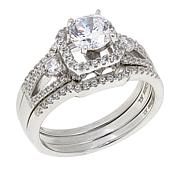 Absolute™ 1.52ctw CZ Round Frame-Design 3-piece Ring Set