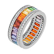 Absolute™ Baguette and Round-Cut Rainbow-Color CZ Eternity Band Ring