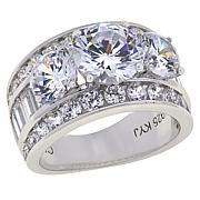 Absolute™ Cubic Zirconia Round and Baguette Engagement Ring Ring
