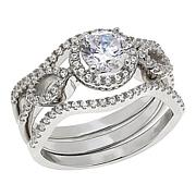 Absolute™ Sterling Silver Cubic Zirconia Round Frame 3-piece Ring Set