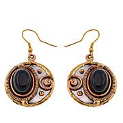 Anju Simulated Black Onyx Tri-Tone Drop Earrings
