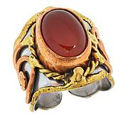 Anju Simulated Red Agate Tri-Tone Adjustable Ring