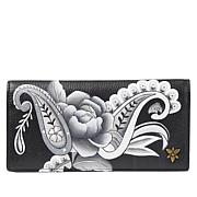 Anuschka Hand-Painted Clutch Wallet with Removable Strap