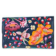 Anuschka Hand-Painted Leather Clutch Wallet with RFID Protection