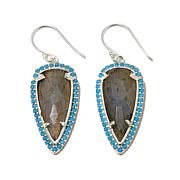 Argento Vivo Labradorite Arrowhead Drop Earrings