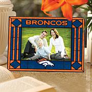 Art Glass Horizontal Picture Frame - Denver Broncos