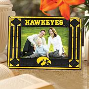 Art Glass Horizontal Picture Frame - Iowa Hawkeyes
