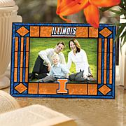 Art Glass Horizontal Picture Frame - University of IL