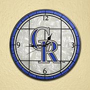 Art Glass Wall Clock - Colorado Rockies