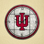 Art Glass Wall Clock - Indiana University