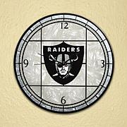 Art Glass Wall Clock - Oakland Raiders